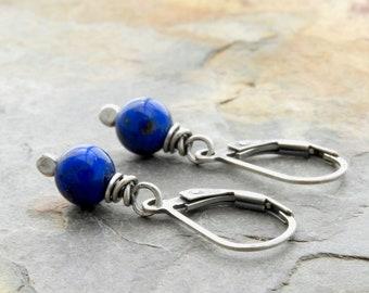 Cobalt Blue Lapis Lazuli Earrings - Sterling Silver - Lever Back #4919