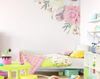 Boho Floral Corner Wall Decal