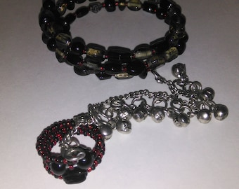 Black Gray and Red Memory Wire Hand Flower with Silver Temple Bells Bracelet and Ring Set- 004