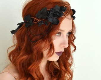 Black floral crown, flapper headpiece, flower headdress, black wreath, hair accessories by gardensofwhimsy - Hemlock