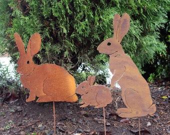 Bunny Family Stake Set | Rabbit Family | Rabbit Garden Sculptures | Rabbit  Garden Art |
