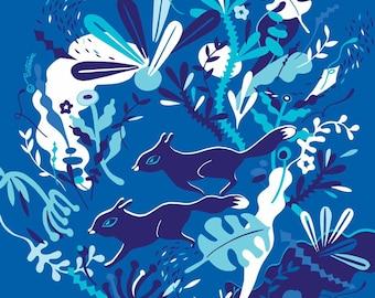Midnight Fox Handkerchief