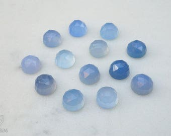 8mm Blue Chalcedony (B01) faceted cabochon. milky blue chalcedony cabs blue gems rose cut