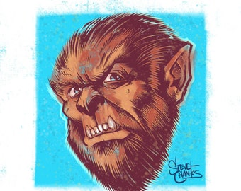WOLFMAN - Monster Head Print