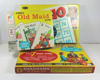 EMPTY GAME BOXES, Lot of 3, Jumbo Old Maid, Bingo, Anagrams, 1950's-1960's, Vintage Games, Images, Decor