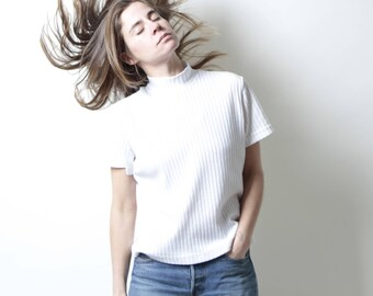 90s ribbed OXFORD soft t shirt top WHITE mock turtleneck top