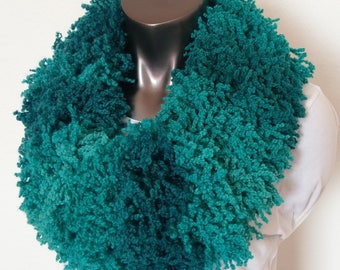 Fluffy Boa-like Turquoise Hand Knit Infinity Scarf Ready to Ship