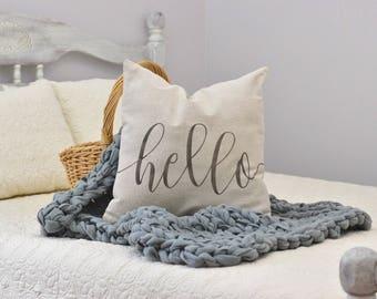 Hello pillow cover - farmhouse pillow - housewarming pillow - farmhouse style pillow - one word pillow - hello decoration