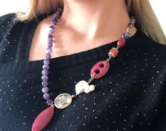 Amethyst necklace for women, ultra violet gemstone jewelry gift for wife, statement necklace for mom, mothers day, gift for girlfriend