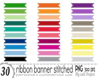 Stitched ribbon banner - Clipart - 30 colors - PNG 300 dpi - Instant download - CA17