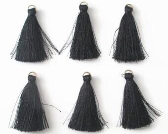 6 PomPoms black cotton 4.5 cm