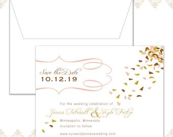 Falling Petals Save the date, Leaves Falling Save the date, Fall Wedding, Fall wedding Save the date, Leaves, Calligraphy, Modern Wedding