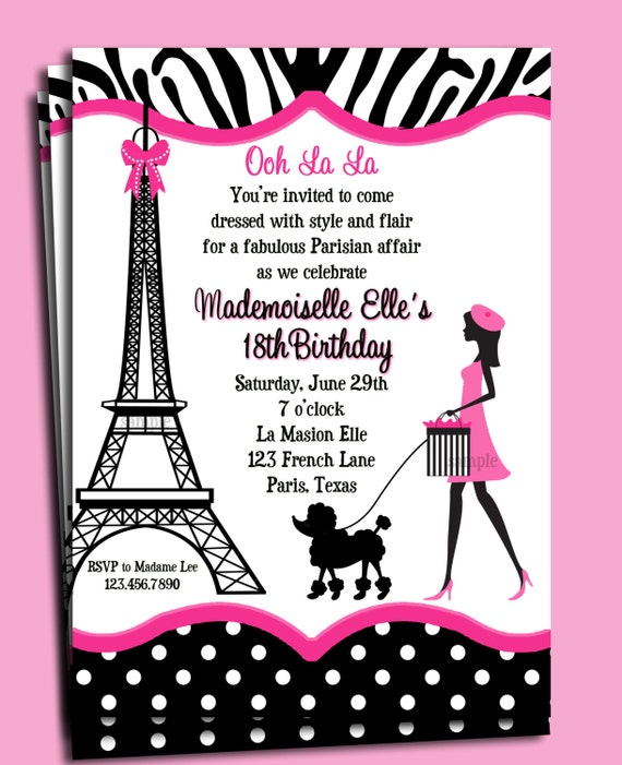 Paris invitation printable or printed with free shipping solutioingenieria Choice Image