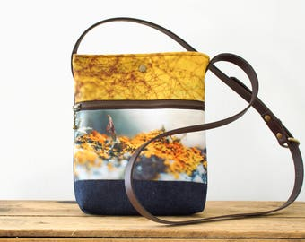 Yellow Isle of Skye shoulder bag, handbag pouch, crossbody bag with leather handle