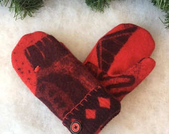 Red wool sweater mitten, Mother's Day gift, ladies large mittens, upcycled /repurposed angora sweater, flannel lined mitten, eco friendly