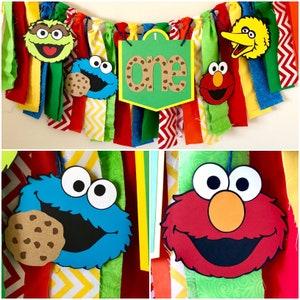 Sesame Street cloth high chair banner, Seaame Street banner, First birthday banner, high chair banner, Big Bird, Elmo, Cookie Monster