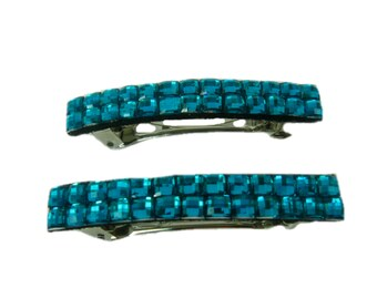 Set of 2 Small Barrettes, Girls Hair Clip, Blue Hair Barrettes, French Barrette, Blue Hair Clips