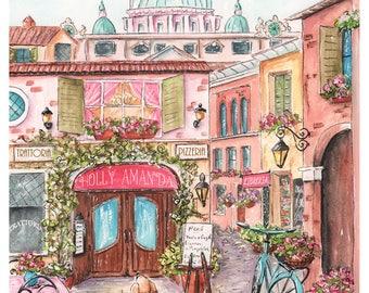 Rome Italy Travel Themed Nursery Wall Art Print, Personalized Rome Print, Rome Wall Art Italian Baby Shower Gift Idea, 6 Sizes, 5x7 to 24x36