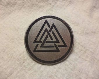 Etched Nickel Silver Valknut Pin