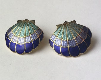 Vintage Seashell Cloisonne style pierced earrings