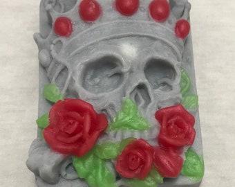 Skull Soap, Bar Soap, Novelty Soap, Goth Soap, Skull and Roses, Charcoal Soap, Buttermilk Soap, Skull King, Halloween Soap, Skeleton Soap