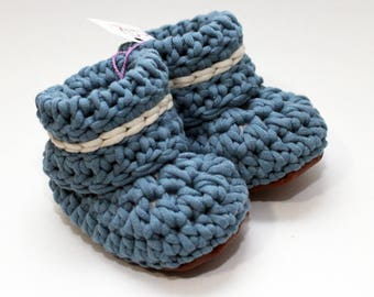 Steel Blue Natural Cotton & Leather Miizoo Crochet Booties, Blue Crochet Moccasin, No Slip Leather Soles, Baby Knit Booties