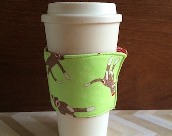 Coffee cozy, sock monkey fabric, coffee sleeve, stocking stuffer, teacher gift, coffee cosy, gift under 10