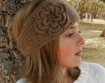 "Tunisian ""Knit-Look"" Crochet Headband Pattern with Flower - Tunisian Crochet Headband Earwarmer Pattern with Flower - Instant Download"