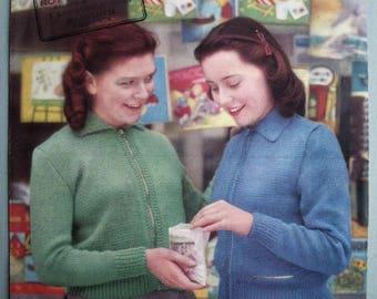 Vintage Knitting Pattern 1940s 1950s Girls Lumber Jacket Cardigan - 40s 50s original pattern Lister and Co No. 564 UK teenager petite women