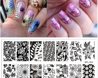 Nail Art Stamping ,Square Stamping Plates,Stamp Template, Image Plates,Nails,Floral,Flowers,Russian Doll,Animals Theme,Free Shipping