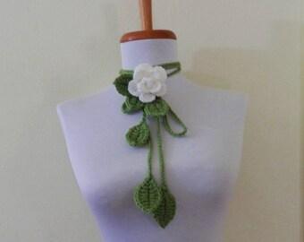 Handmade  Crochet  White  Rose  Lariat Scarf  Scarflette  Necklace  Gift  Valentine  Fiber art Women Girls Teen