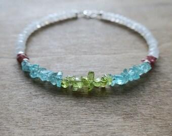 apatite/peridot/tourmaline/moonstone bracelet sterling silver