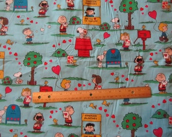 Blue Peanuts Gang Valentine Cotton Fabric by the Half Yard