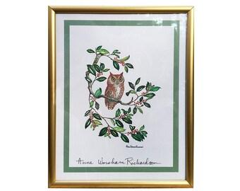 Owl Print / Anne Worsham Richardson / Signed / American Wildlife Artist / Ornithology