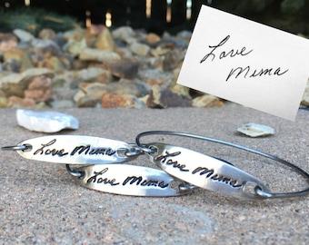 Handwriting Bracelet, Handwriting pressed deep into metal (not simply engraved), Real handwriting, Handwriting Jewelry, Handwriting Bangle