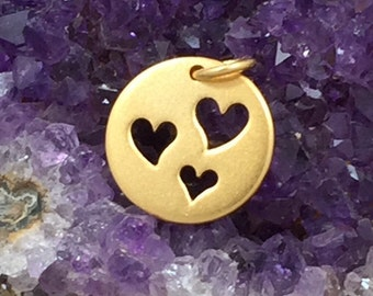 Heart Charm, Heart Pendant, Three Cut Out Heart Charm, Gold Heart Charm, Heart Cut Out Charm, Circle Heart Charm, PG0124