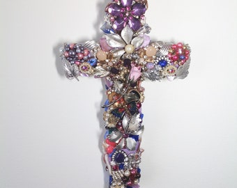 Jeweled, jewelry crosses: costume, vintage jewelry, crystal beading, specialty gift and wall decor
