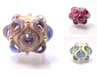 Space Lampwork bead handmade purple ivory lilac lampwork focal bead artisan lampwork bead lampwork bracelet  Jewelry Supply rondelle