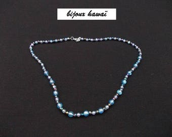 Blue children necklace in two-tone