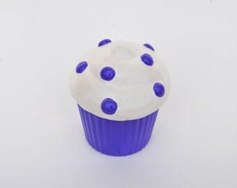 Purple Glitter Polka-Dotted Cupcake Trinket Box