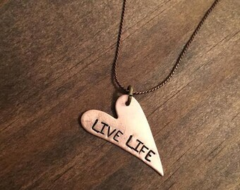 Live Life Copper Swirly Heart Necklace, Live Life Necklace, Womens or Girls Jewelry, Copper Hand Stamped Necklace, Womens Jewelry