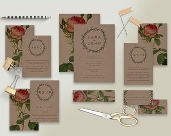 "Printable Wedding Invitation Suite ""Vintage Rose Kraft"" - Printable DIY Invite, Affordable Wedding Invitation"