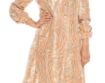 Gold And Silver Brocade 1960s Coat Size: 6