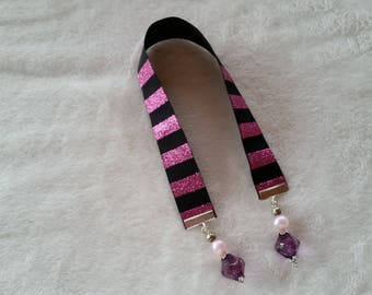 Pink and Black ribbon bookmark, Handmade