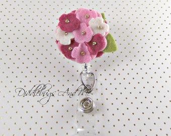 Hydrangea Badge Reel, Shades Of Pink Flower, ID Holder, Name Tag Holder, Felt Badge Reel Flower Badge Reel, Retractable Badge, Badge ID