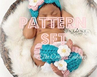 Hat and leg warmer crochet pattern set - PDF47 and PDF47a digital downloads - Snuggle Up pattern set