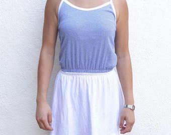 blue and white striped sundress // white skirted sundress // cross-back sundress // xs sundress // s sundress