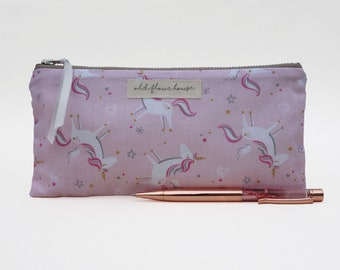Unicorn Pencil Case, Small Makeup Bag, Zipper Pouch, Pink Make Up Brush Holder, Unicorn Gift, Cosmetics Bag, Bag Organiser, Old Flour House