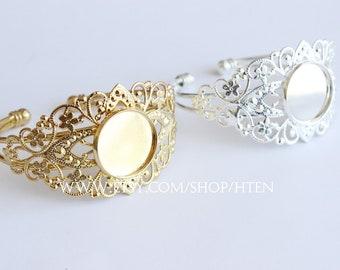 5pcs 20mm Adjustable Brass Bracelet Base, Blank Bracelet Cuff, Filigree Floral Bangle, 20mm  Bezel Setting,Bracelet Supply