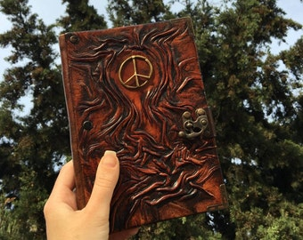 Travel Journal, Steampunk Leather Journal, Leather Journal, Sketchbook, Notebook, Peace Emblem, Christmas Gift